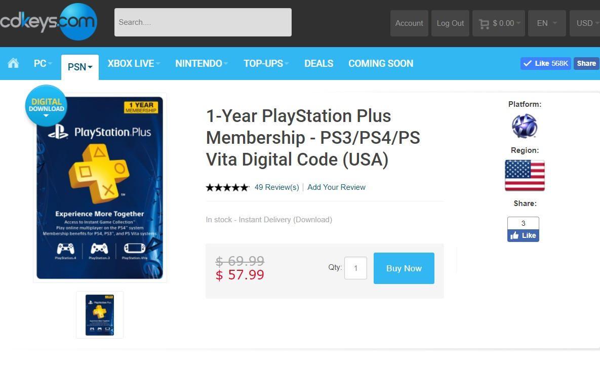 sitio web de compra de ps plus usa 1 año cdkeys