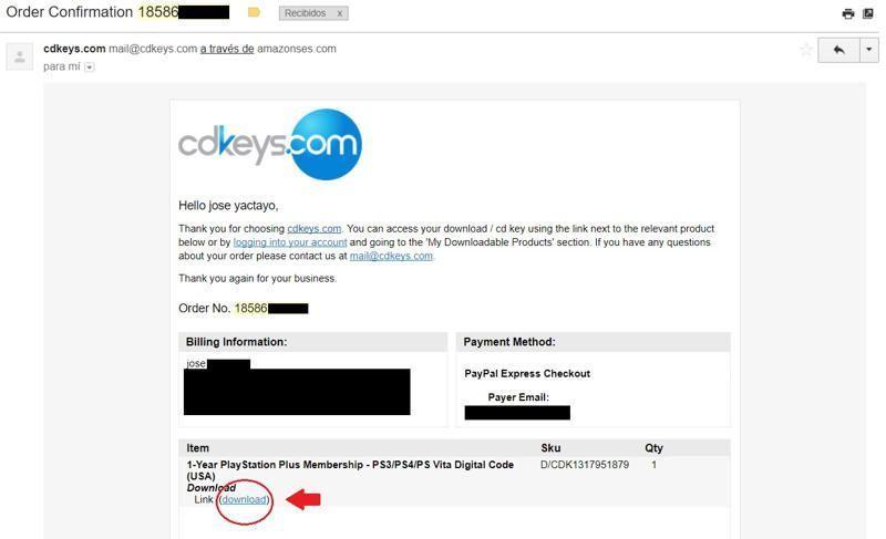 orden de compra cdkeys recibida vía email