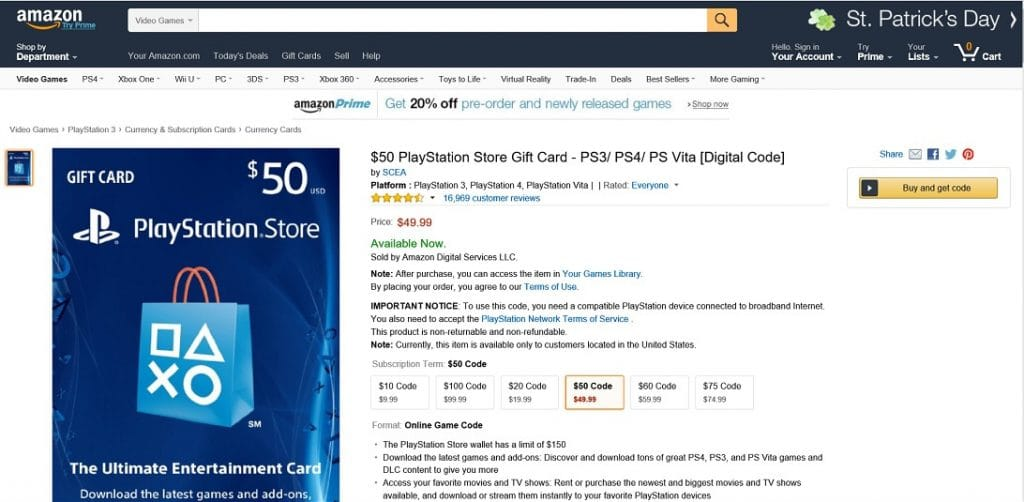 amazon comprando psn cards en amazon