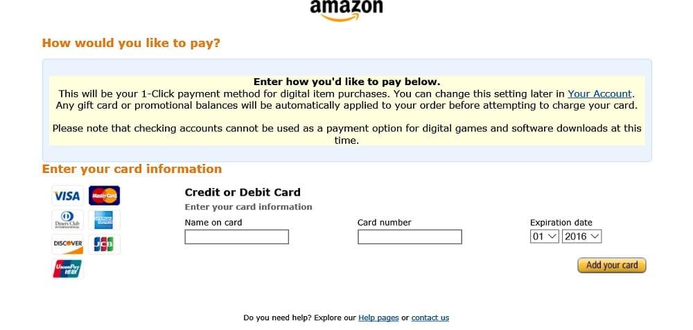amazon colocar tu tarjeta de crédito o débito