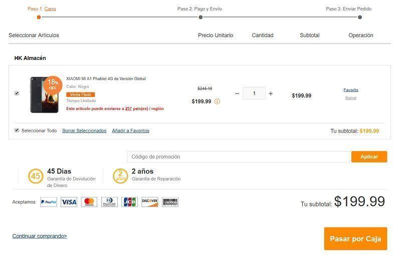 agregar producto al carrito gearbest peru con detalles compra